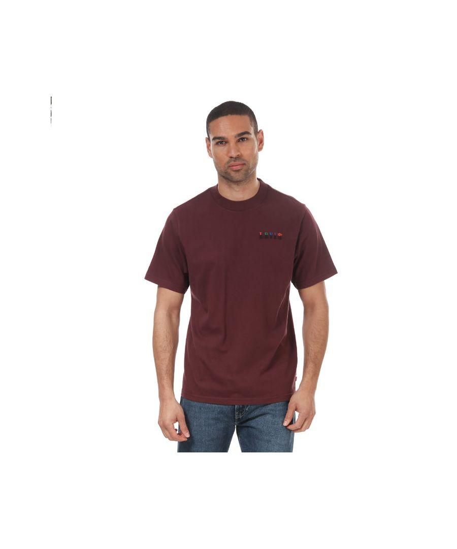 Image for Men's Levis Graphic Mockneck Serif T-Shirt Burgundy Min Burgundy