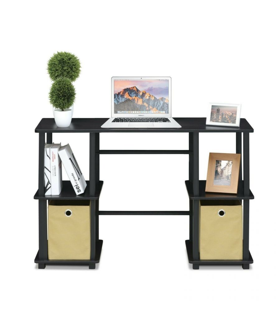 Image for Furinno Turn-N-Tube Computer Desk with Storage Bins, Espresso/Black