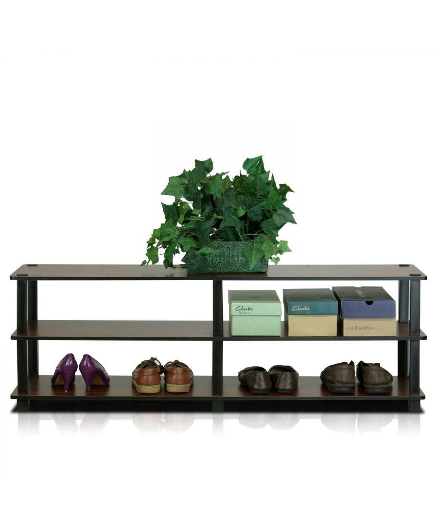 Image for Furinno No Tools 3-Tier Wide Shoe Storage Rack - Dark Brown/Black