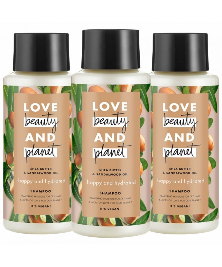 Image for Love Beauty & Planet Happy and Hydrated Shea Butter & Sandalwood Oil Shampoo 3 x 400ml