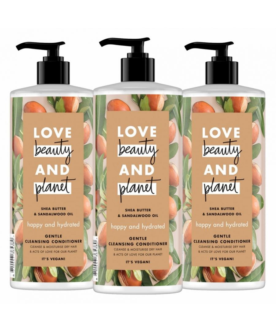 Image for Love Beauty & Planet Happy and Hydrated Shea Butter & Sandalwood Oil Gentle Cleansing Conditioner 3 x 500ml
