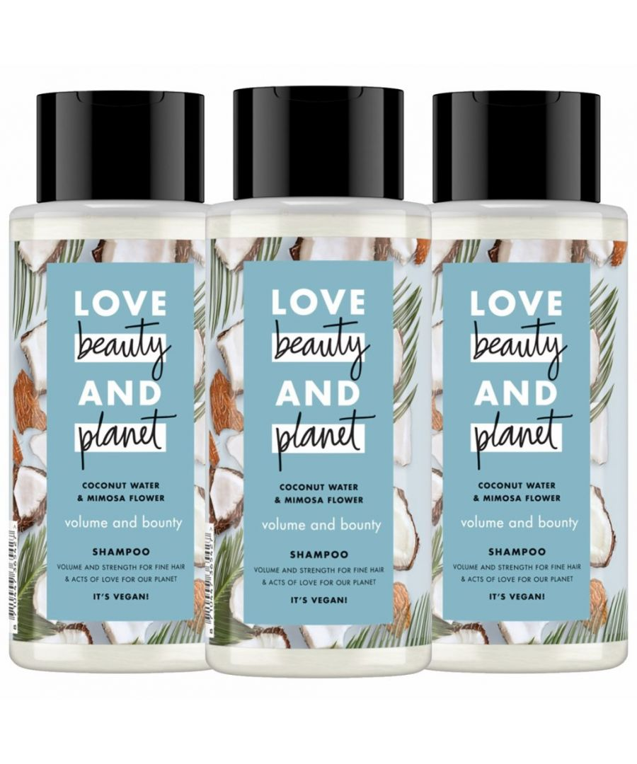 Image for Love Beauty & Planet Volume and Bounty Coconut Water & Mimosa Flower Shampoo 3 x 400ml
