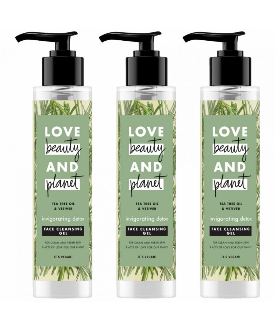 Image for Love Beauty & Planet Invigorating Detox Tea Tree & Vetiver Face Cleansing Gel 3 x 125ml