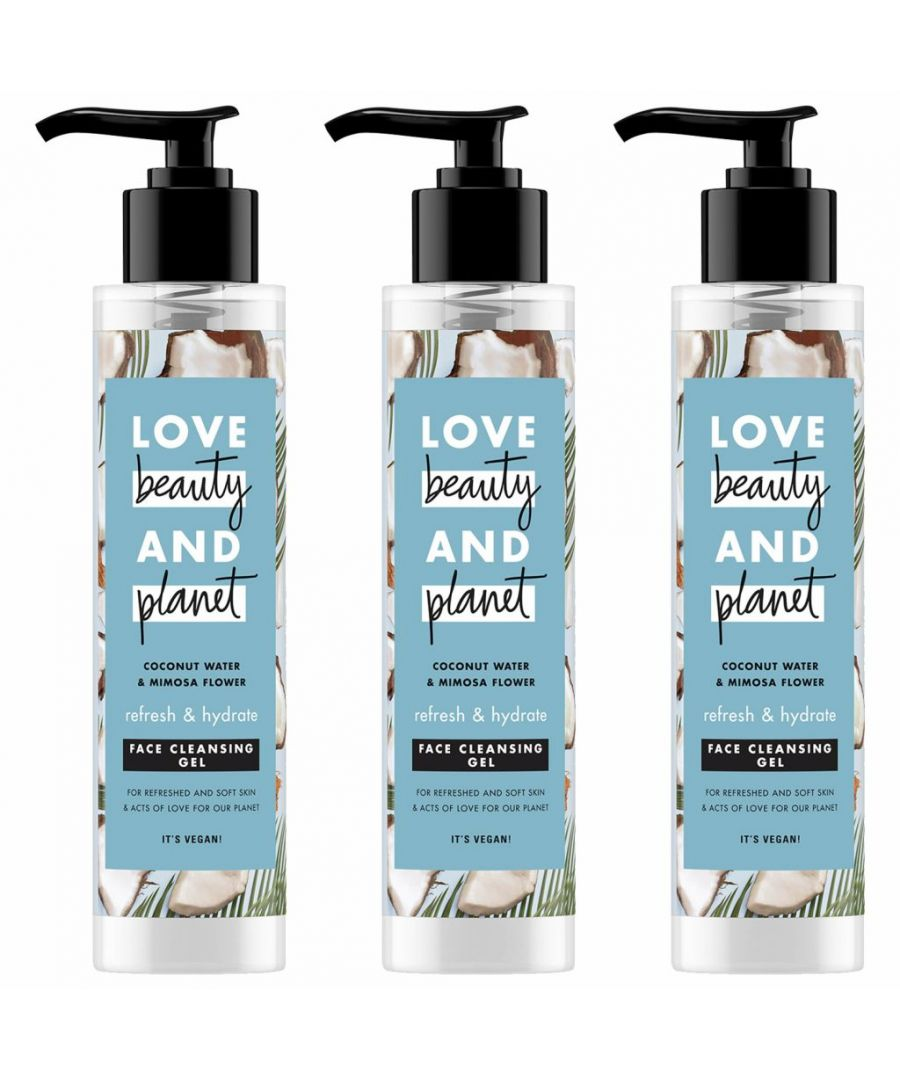 Image for Love Beauty & Planet Refresh and Hydrate Coconut Water & Mimosa Flower Face Cleansing Gel 3 x 125ml