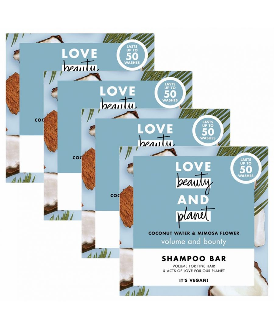 Image for Love Beauty & Planet Volume and Bounty Coconut Water & Mimosa Flower Shampoo Bar 4 x 90g