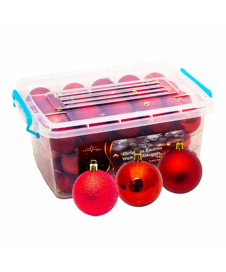 Image for Christmas Baubles Boxed in Storage Box Red x70 Baubles
