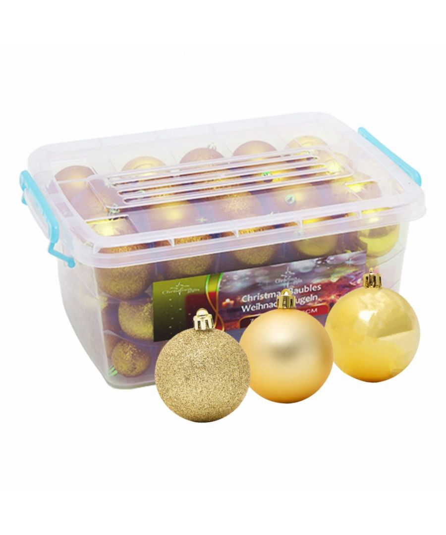 Image for Christmas Baubles Boxed in Storage Box Gold x 70 Baubles