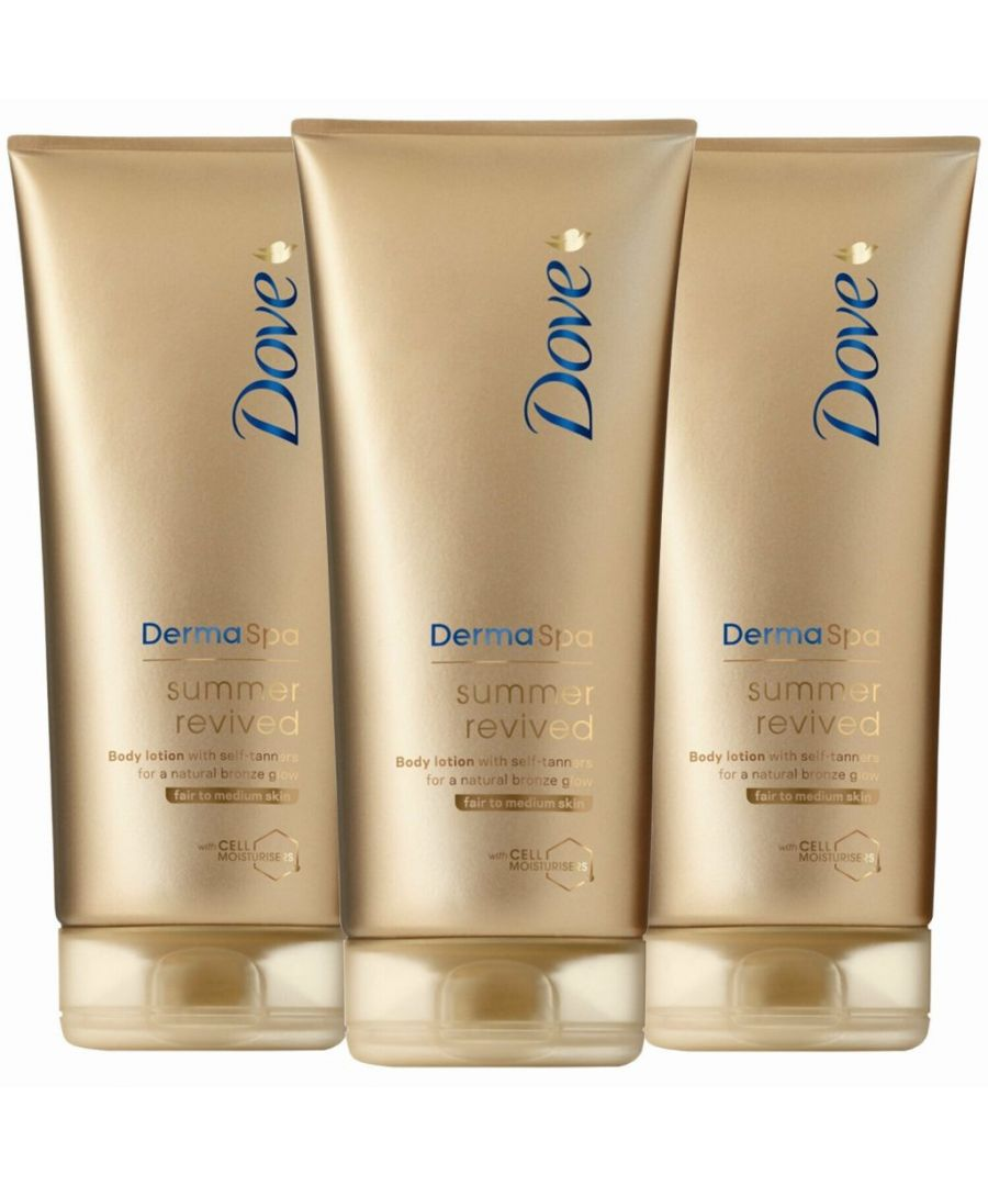 Image for Dove DermaSpa Summer Revived Gradual Self Tan Body Lotion Fair to Medium 3 x 200ml