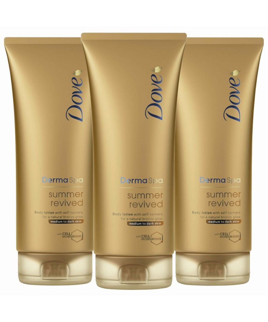 Image for Dove DermaSpa Summer Revived Gradual Self Tan Body Lotion Medium to Dark 3 x 200ml