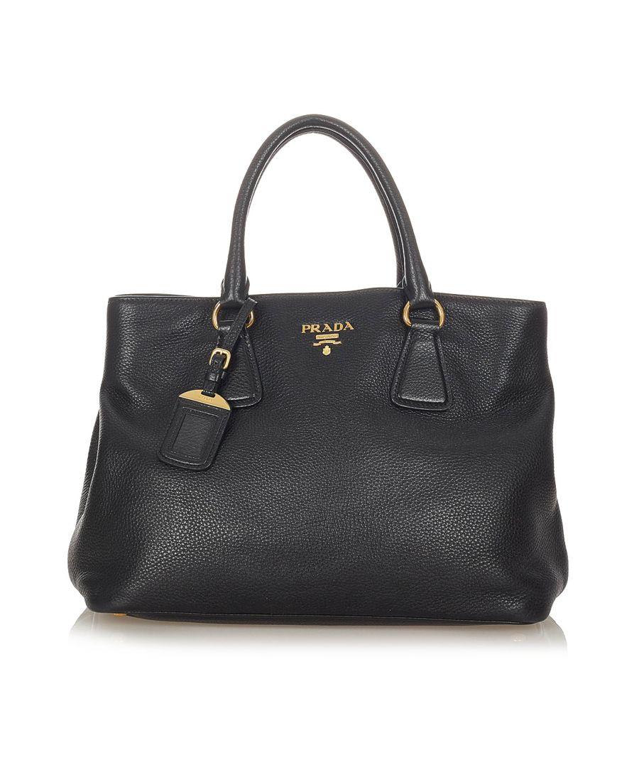 Image for Vintage Prada Vitello Daino Handbag Black