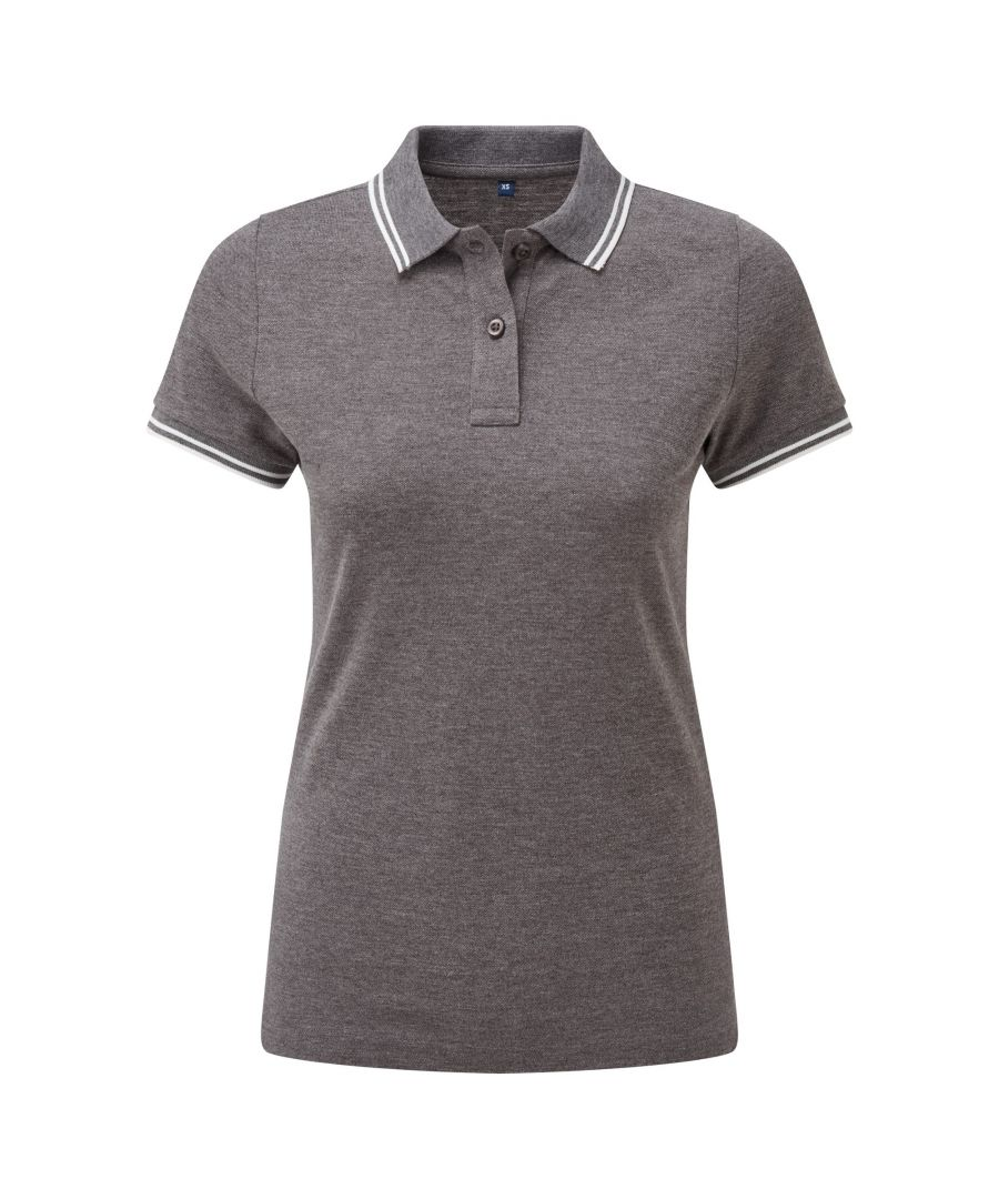 Image for Asquith & Fox Womens/Ladies Classic Fit Tipped Polo (Charcoal/White)