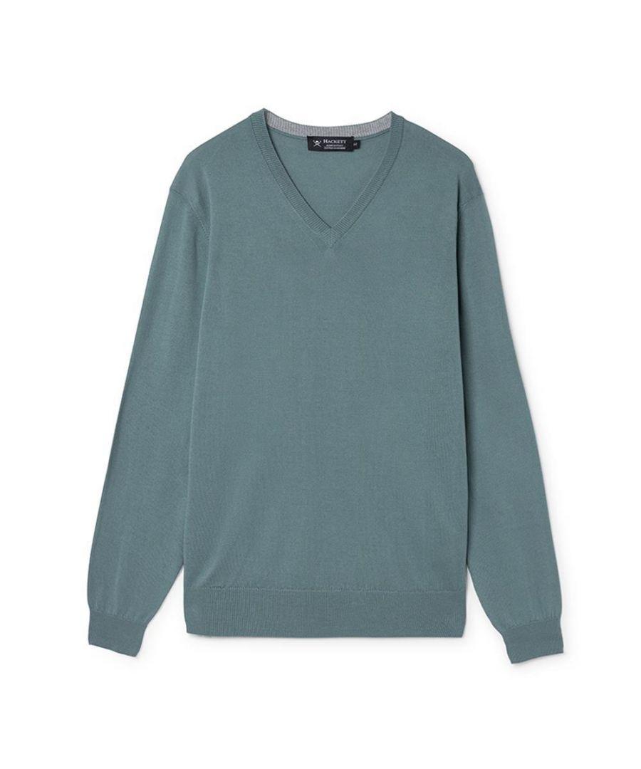 Image for Men's Hackett, Cotton & Cashmere V Neck Sweater in Jungle