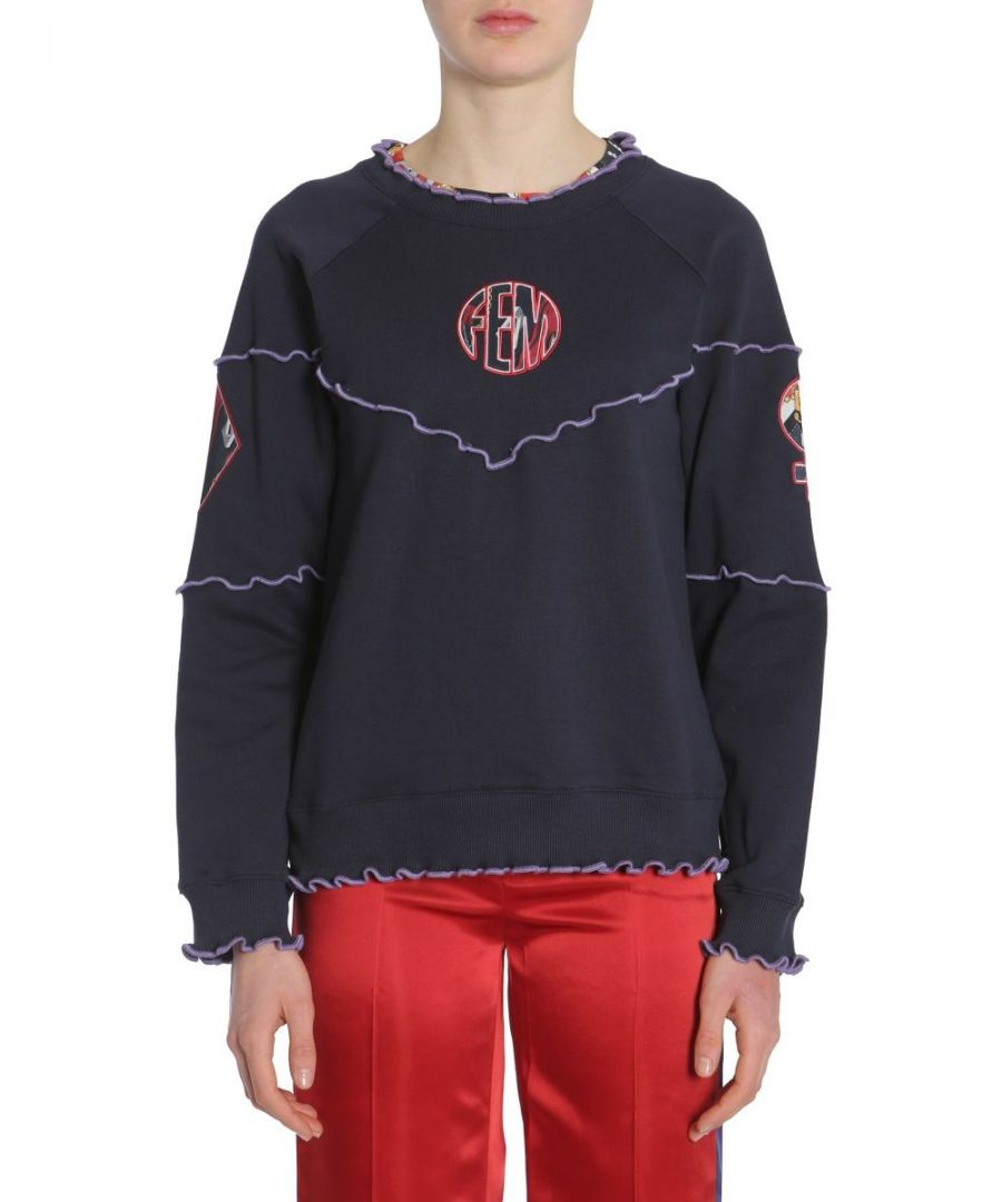 Image for OPENING CEREMONY WOMEN'S W17TCN122214102 BLUE COTTON SWEATSHIRT