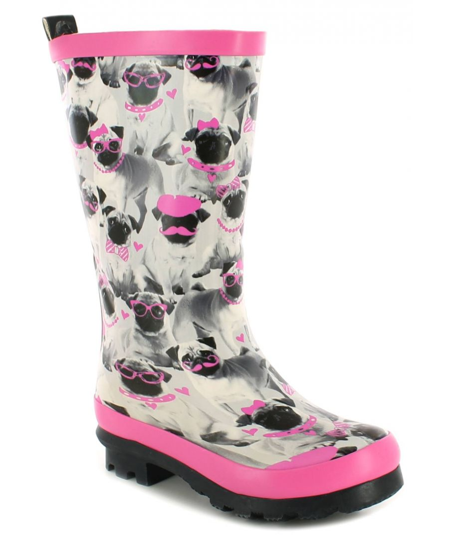 Image for New Girls/Childrens Grey/Pink Cute Pug Print Wellington Boots
