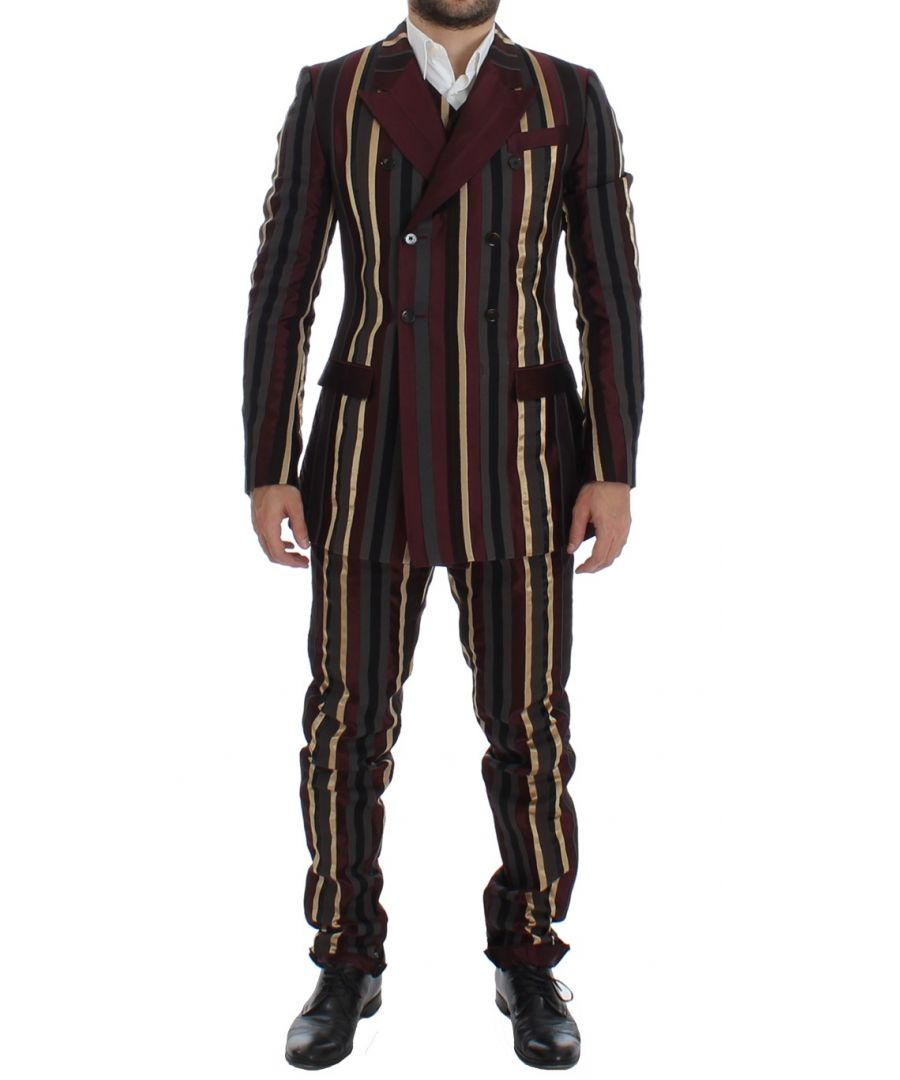 Image for Dolce & Gabbana Multicolor Striped Runway 3 Piece Slim Fit Suit