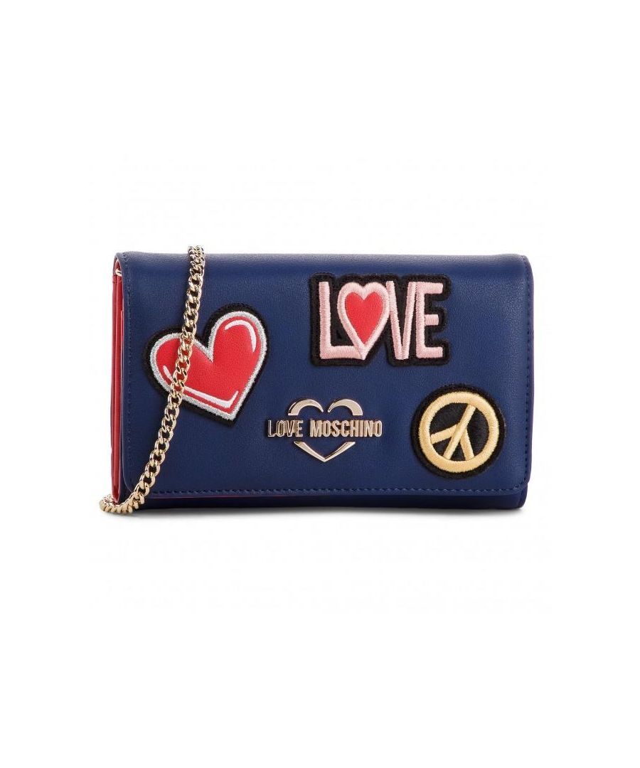 Image for Love Moschino Zip Around Wallet with Peace Sign and Chain in Blue