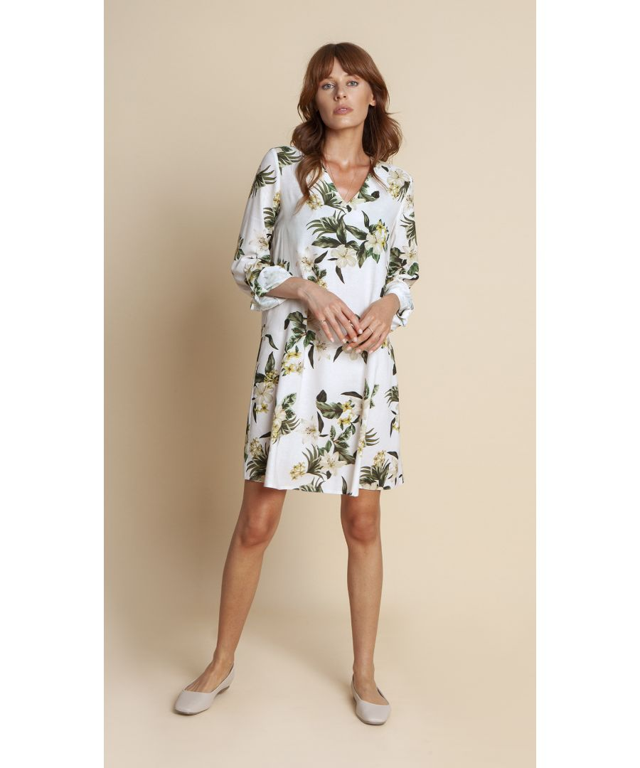 Image for Nicole Floral White Dress