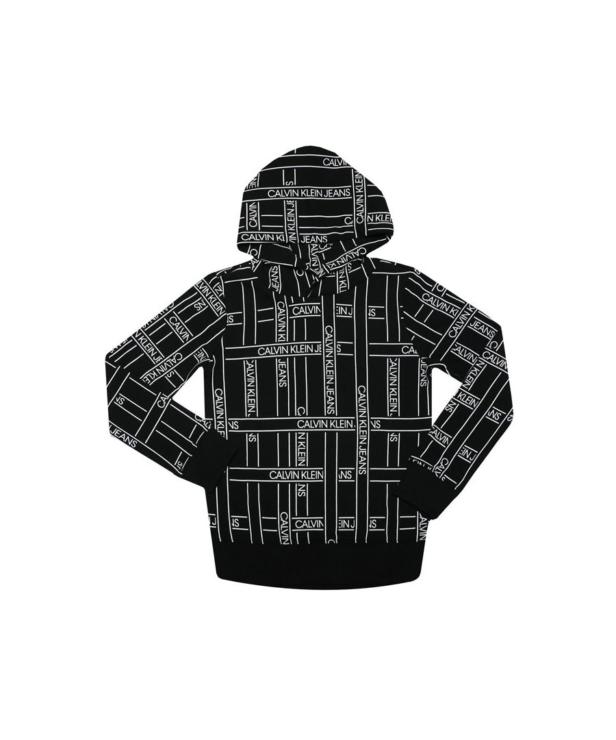Image for Boys' Calvin Klein Junior Logo Tape Hoodie in Black-White