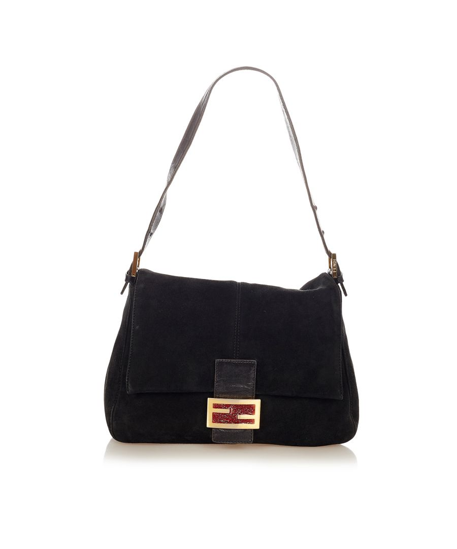 Image for Vintage Fendi Mamma Forever Suede Shoulder Bag Black