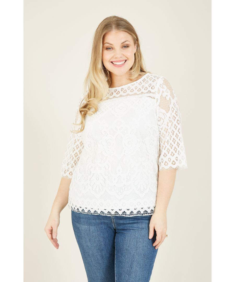 Image for Yumi Curve White Lace Top