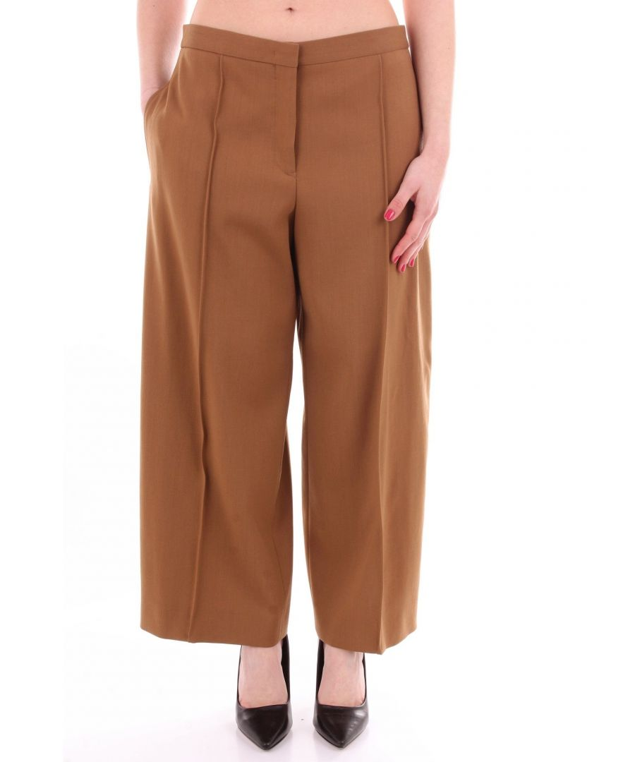 Image for JIL SANDER WOMEN'S JSPN300600WN201300CAMEL BROWN OTHER MATERIALS PANTS