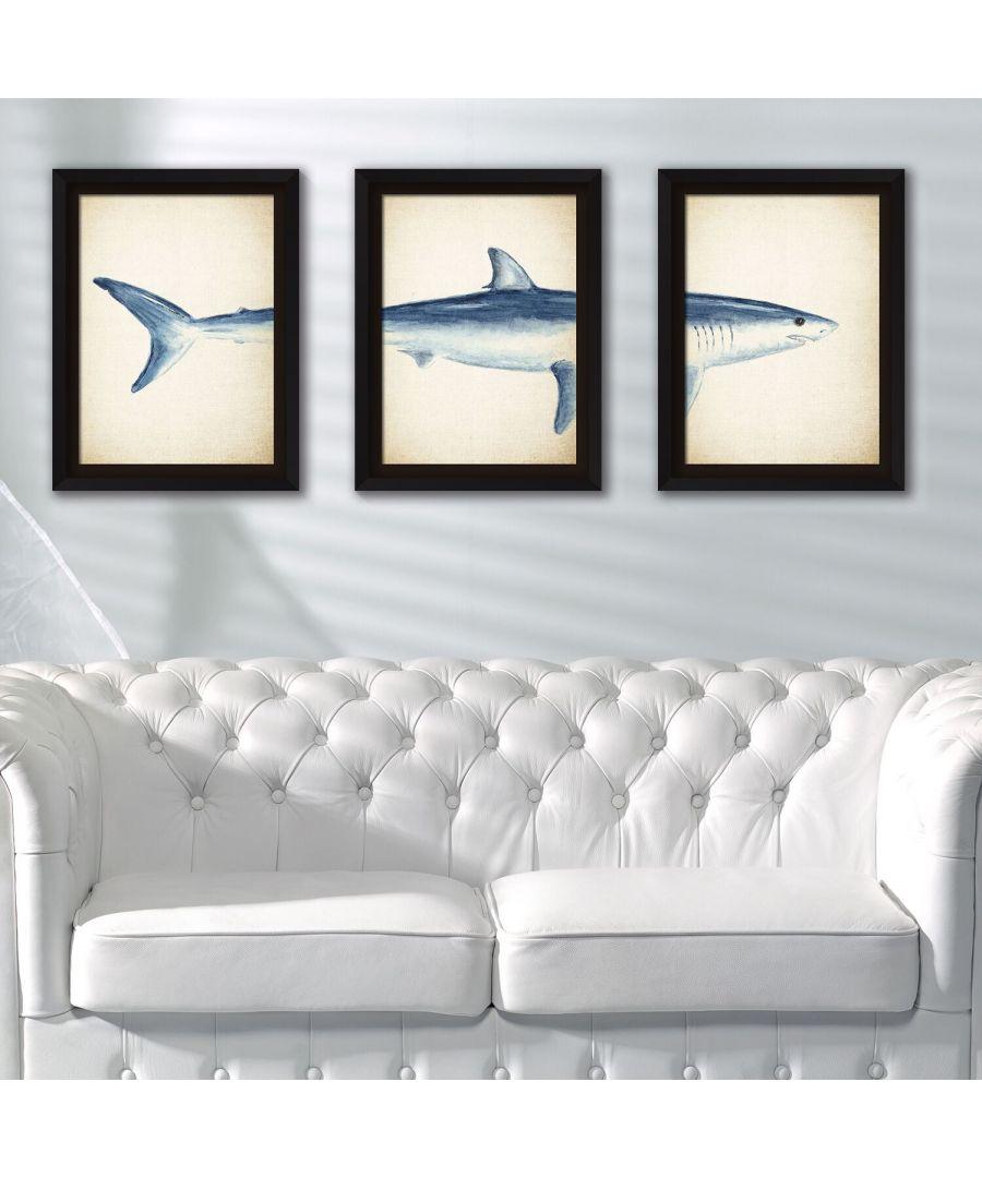 Image for Framed Art 2in1 Great White Shark Posters Framed Photo, Framed Art
