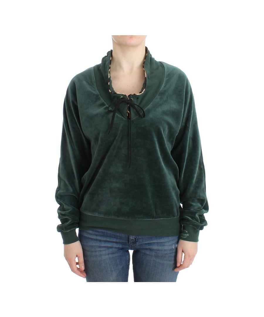 Image for Cavalli Green velvet cotton sweater