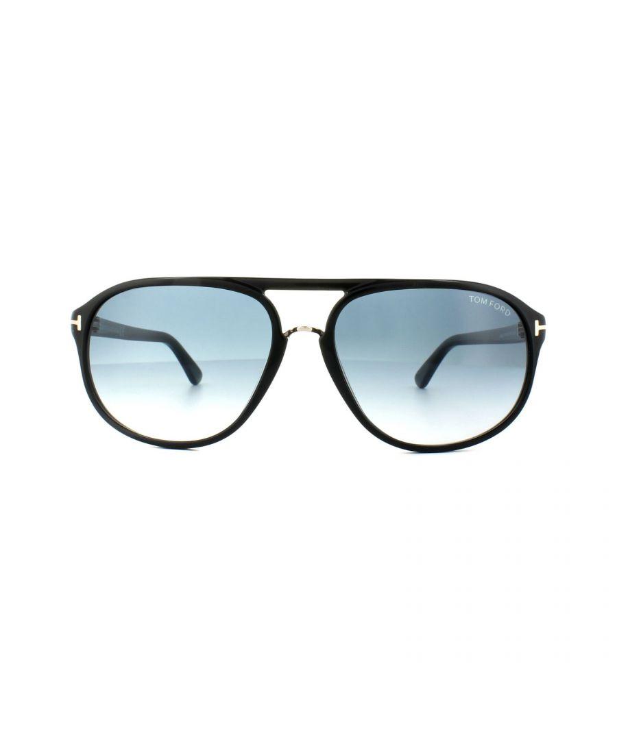 Image for Tom Ford Sunglasses 0447 Jacob 01P Shiny Black Green Gradient