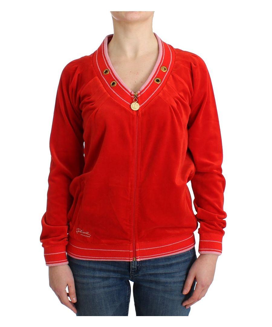 Image for Cavalli Red velvet zipup sweater
