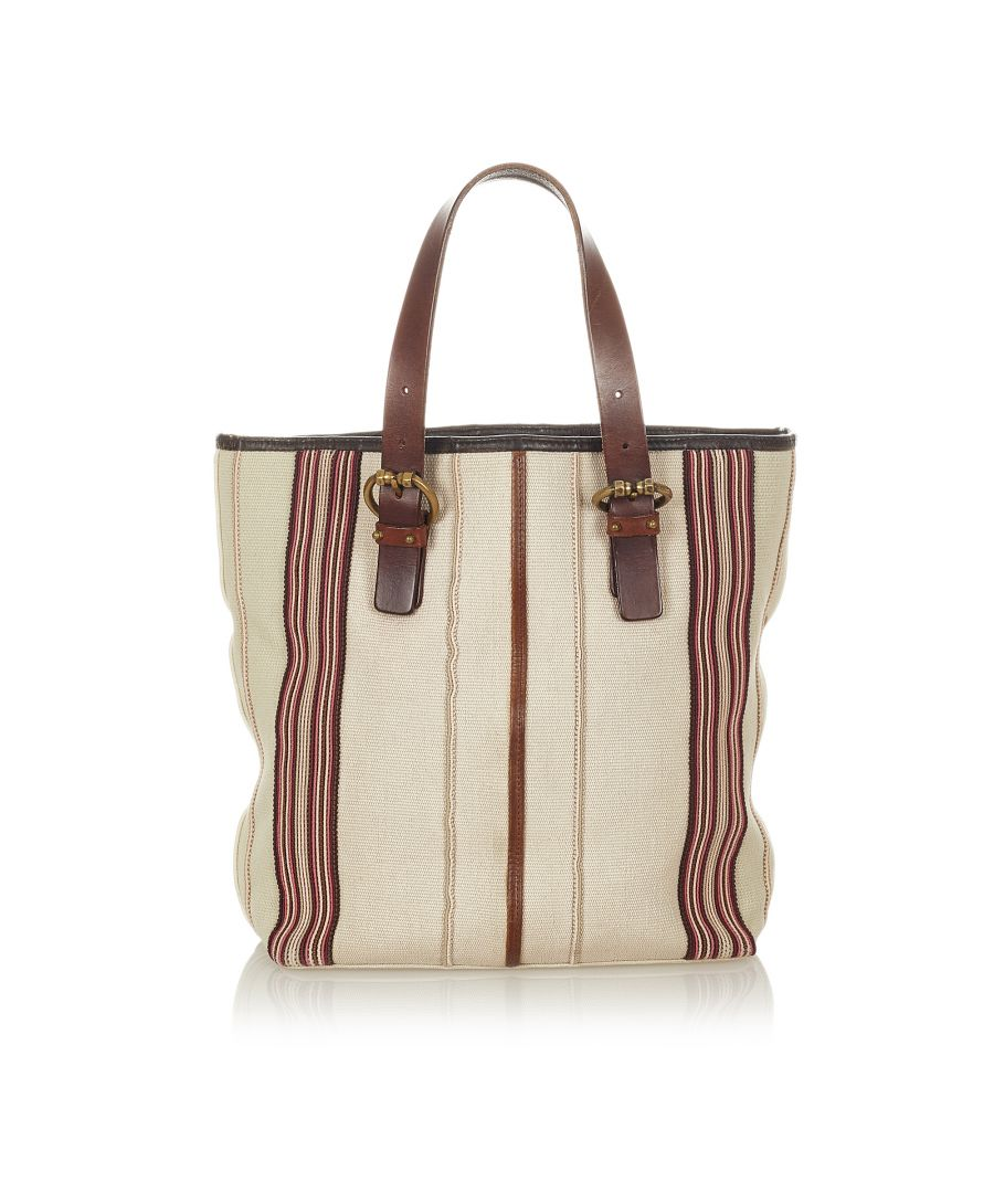 Image for Vintage Bottega Veneta Canvas Tote Bag White
