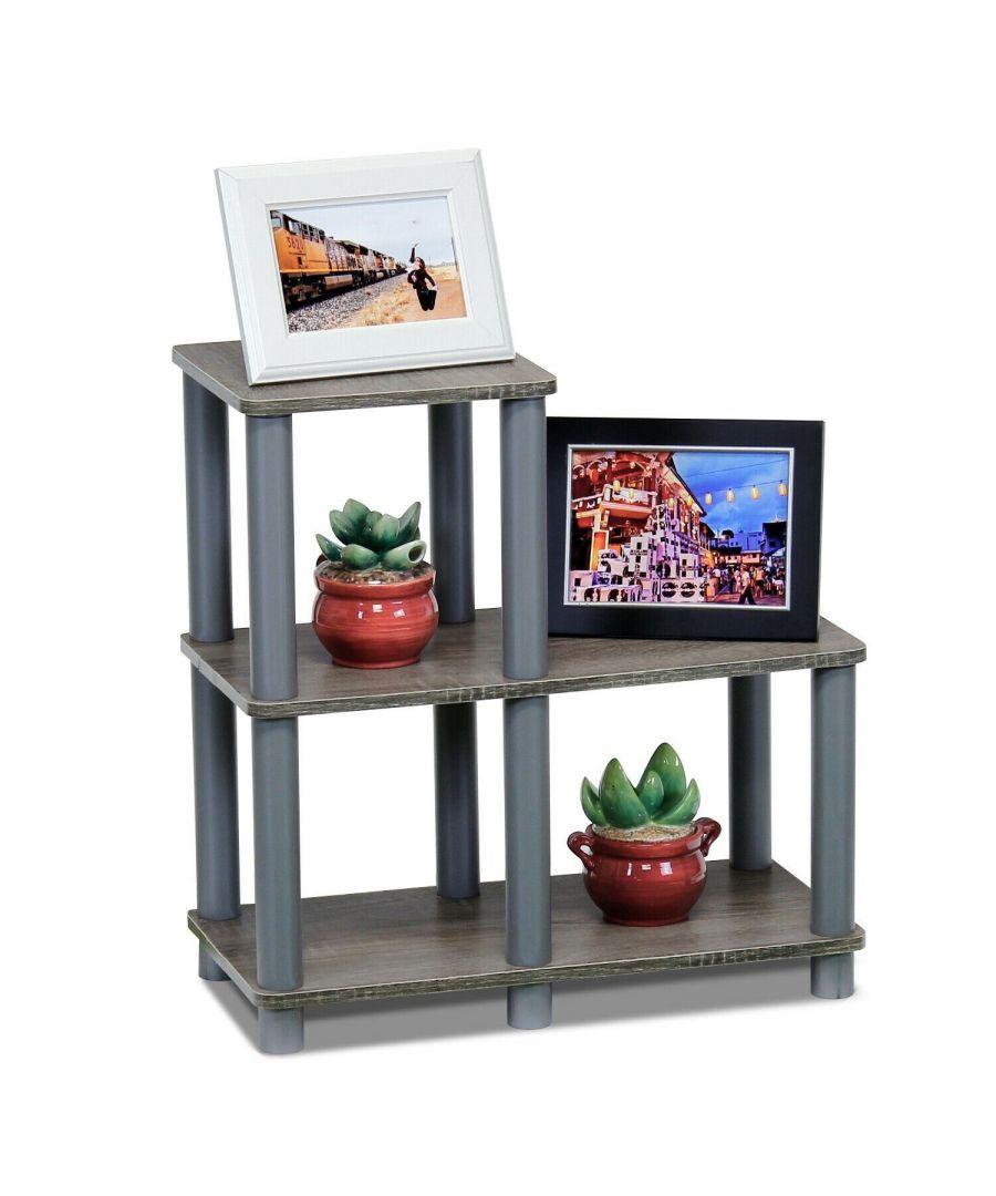 Image for Furinno Turn-N-Tube Accent Decorative Shelf, French Oak/Grey