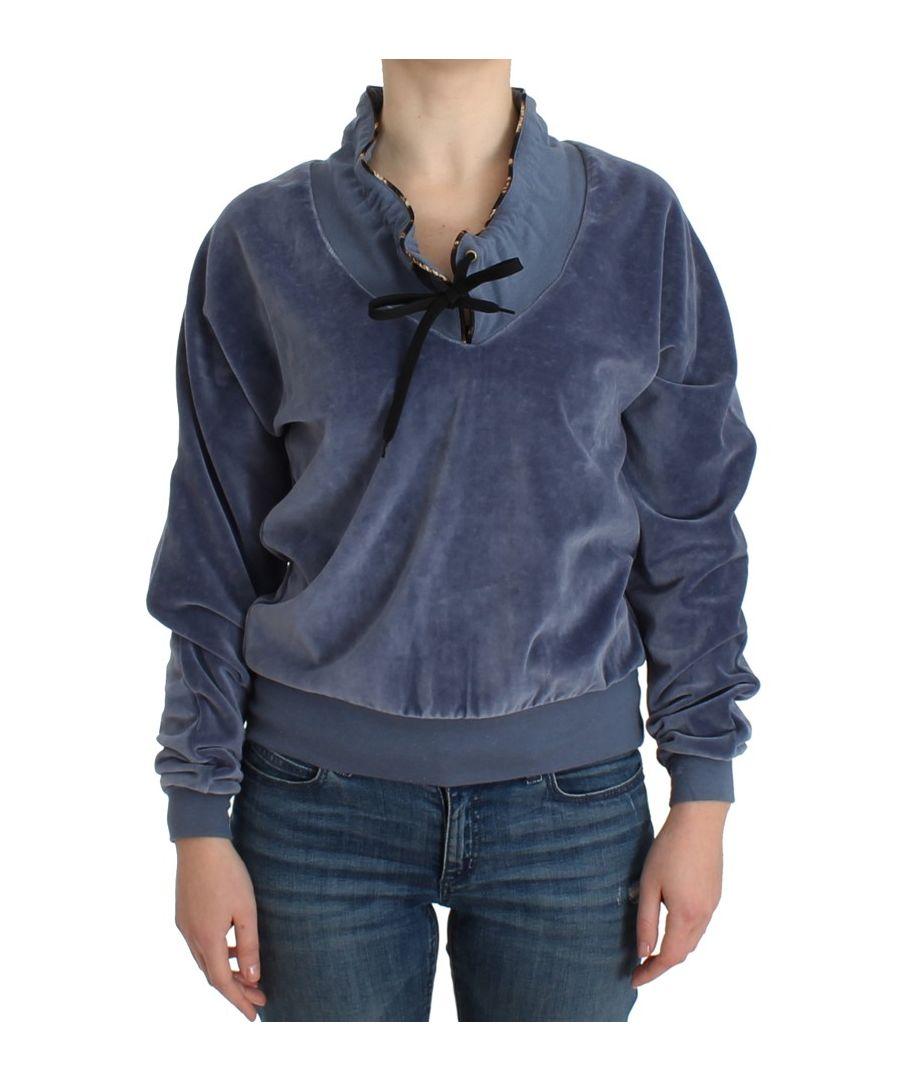 Image for Cavalli Blue velvet cotton sweater