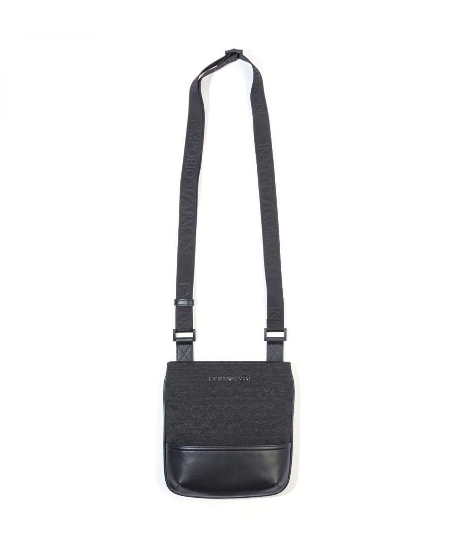 Image for Emporio Armani Jacquard Monogram Crossbody Bag - Black