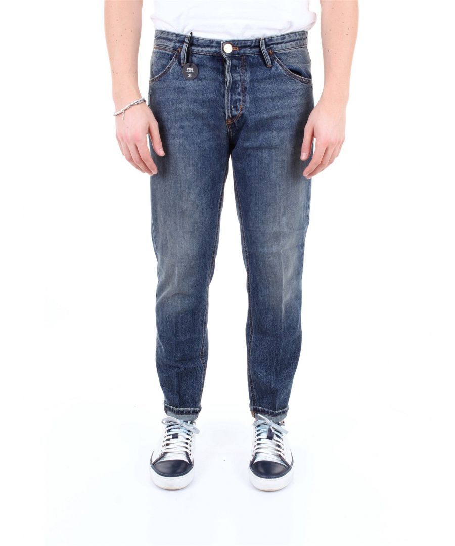 Image for PT01 MEN'S OA09TJ25B30NAVJEANSSCURO BLUE COTTON JEANS