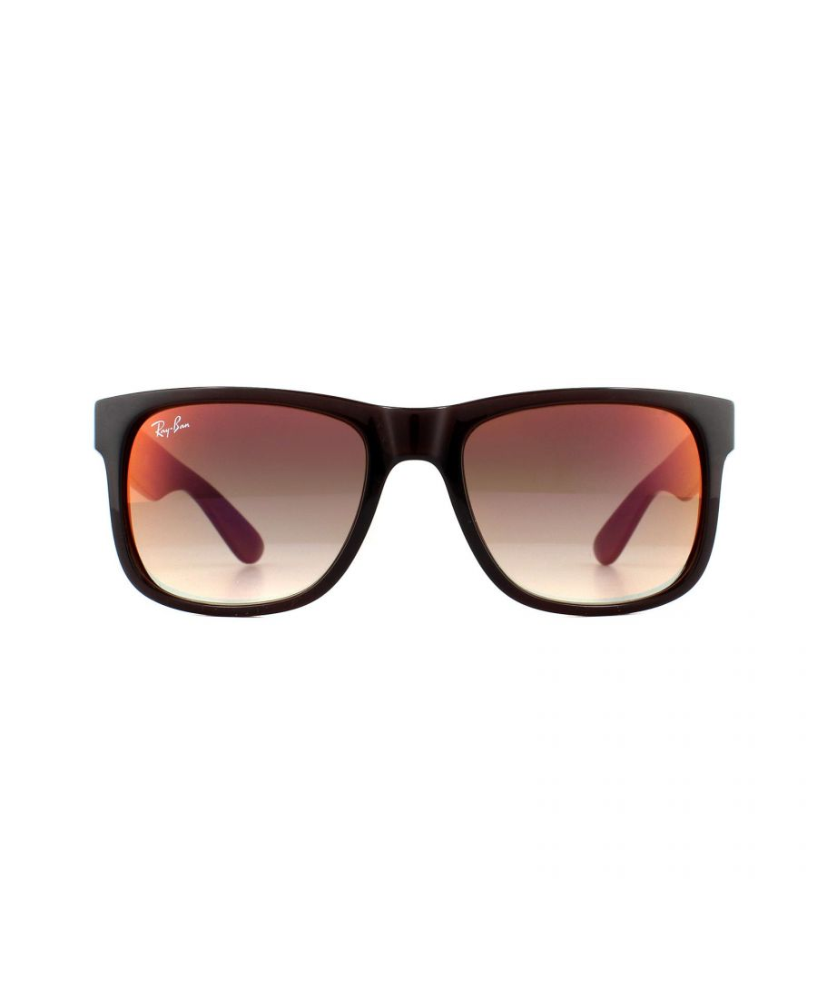 Image for Ray-Ban Sunglasses Justin 4165 714/S0 Brown Brown Gradient Mirror Red