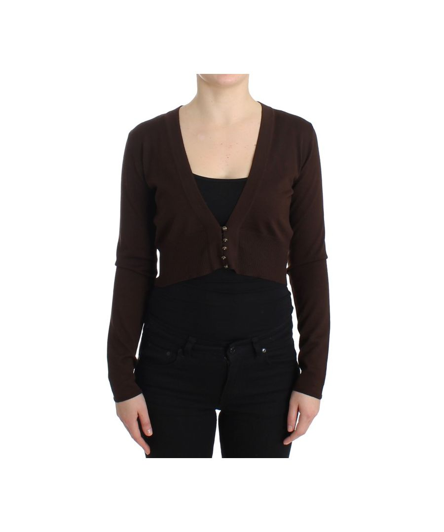 Image for Cavalli Brown cropped wool cardigan