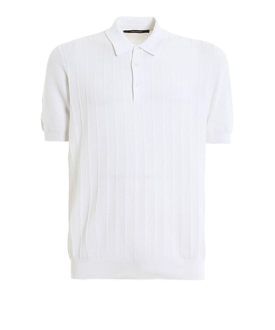 Image for TAGLIATORE MEN'S NOAH535GSE2006002 WHITE COTTON POLO SHIRT