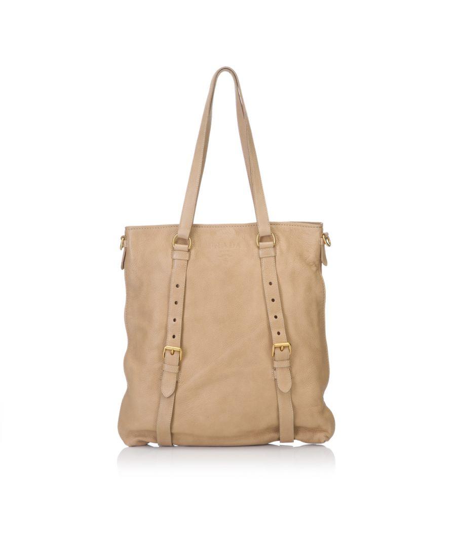Image for Vintage Prada Leather Tote Bag Brown