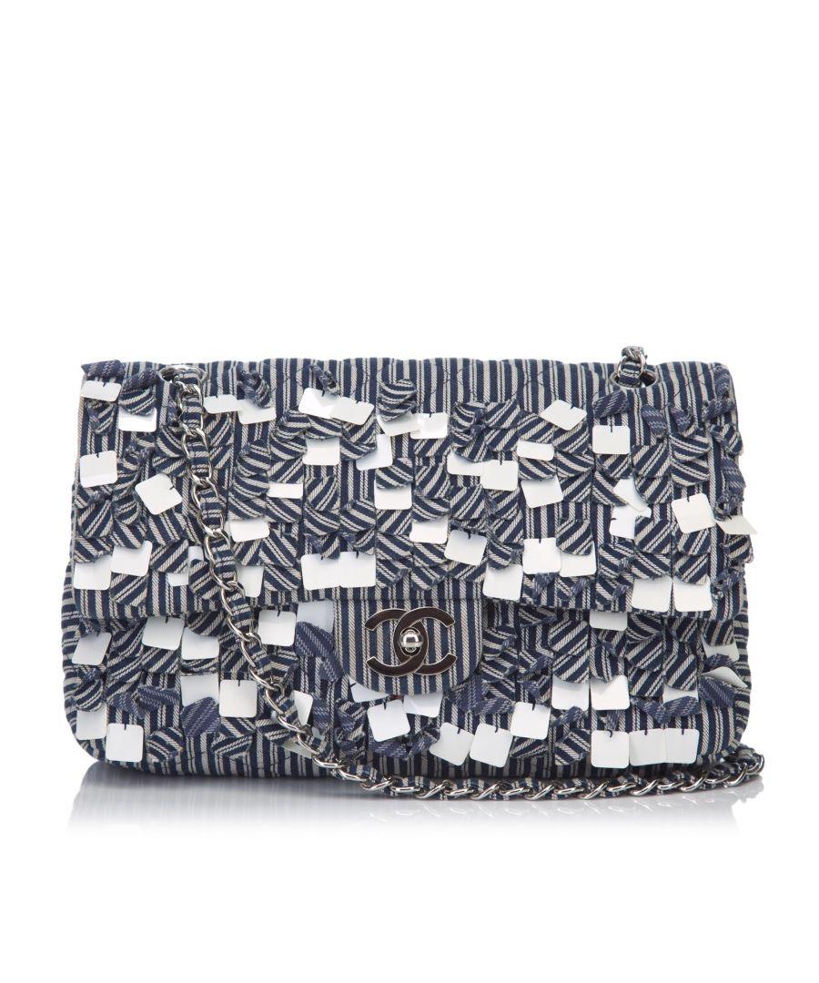 Image for Chanel Fringe Cotton Flap Shoulder Bag Blue
