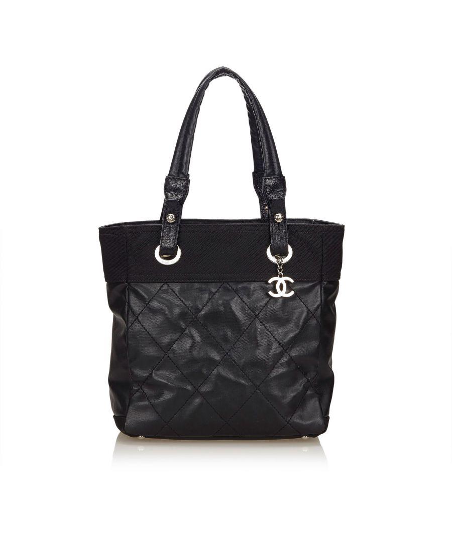 Image for Vintage Chanel Paris Biarritz Tote Black