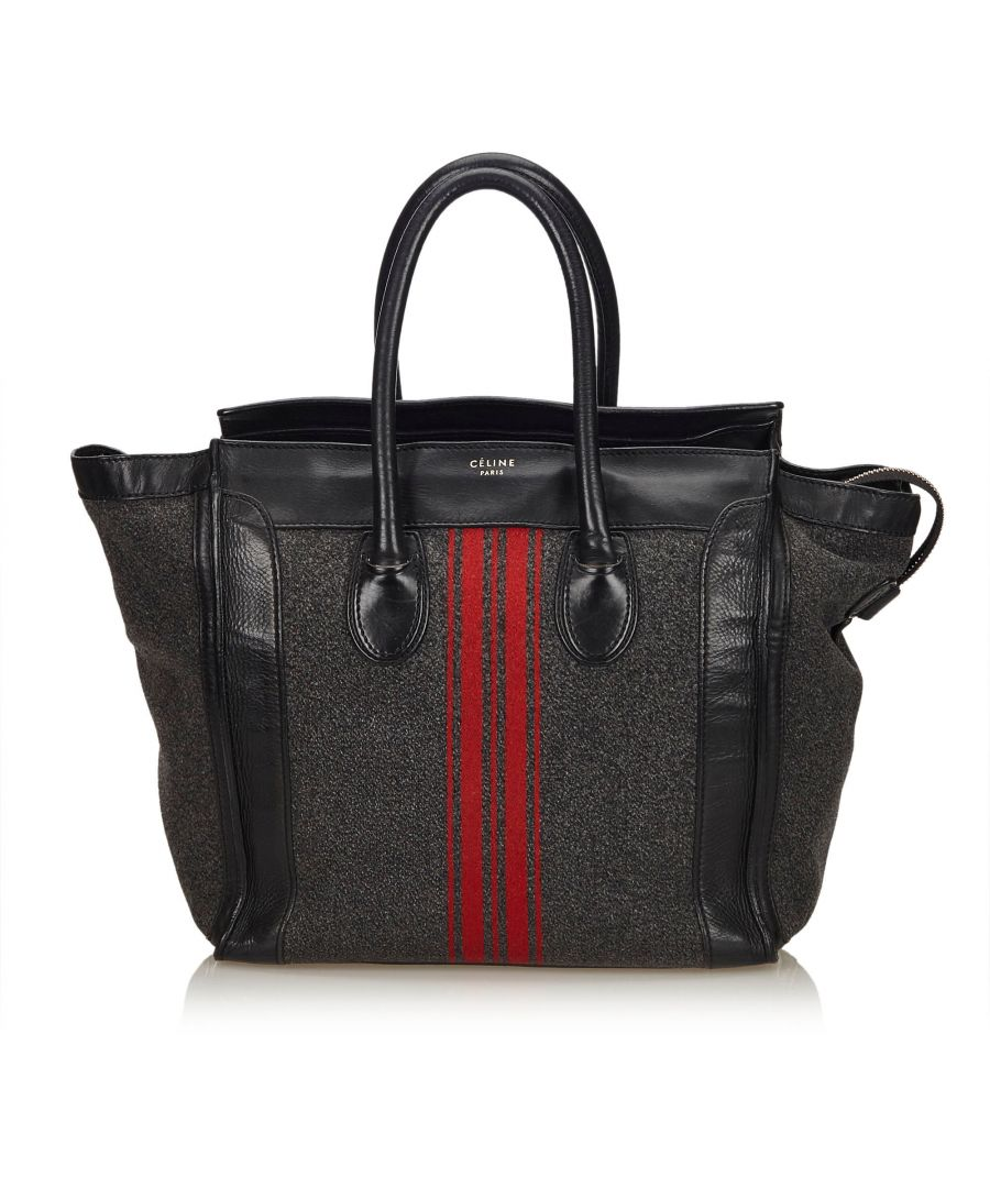Image for Celine Wool Racer Stripe Medium Luggage Gray