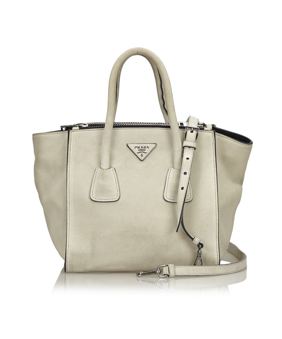 Image for Prada Suede Satchel Gray
