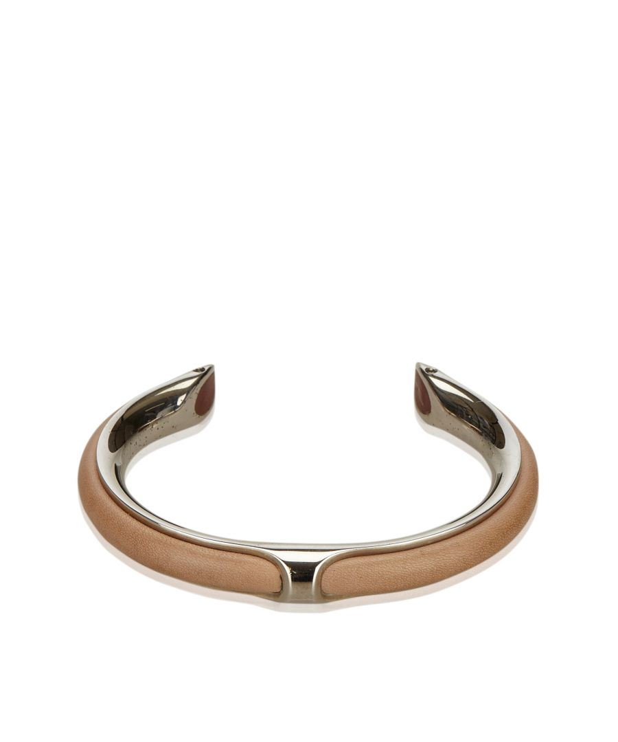 Image for Hermes Metallic Leather Bangle Silver