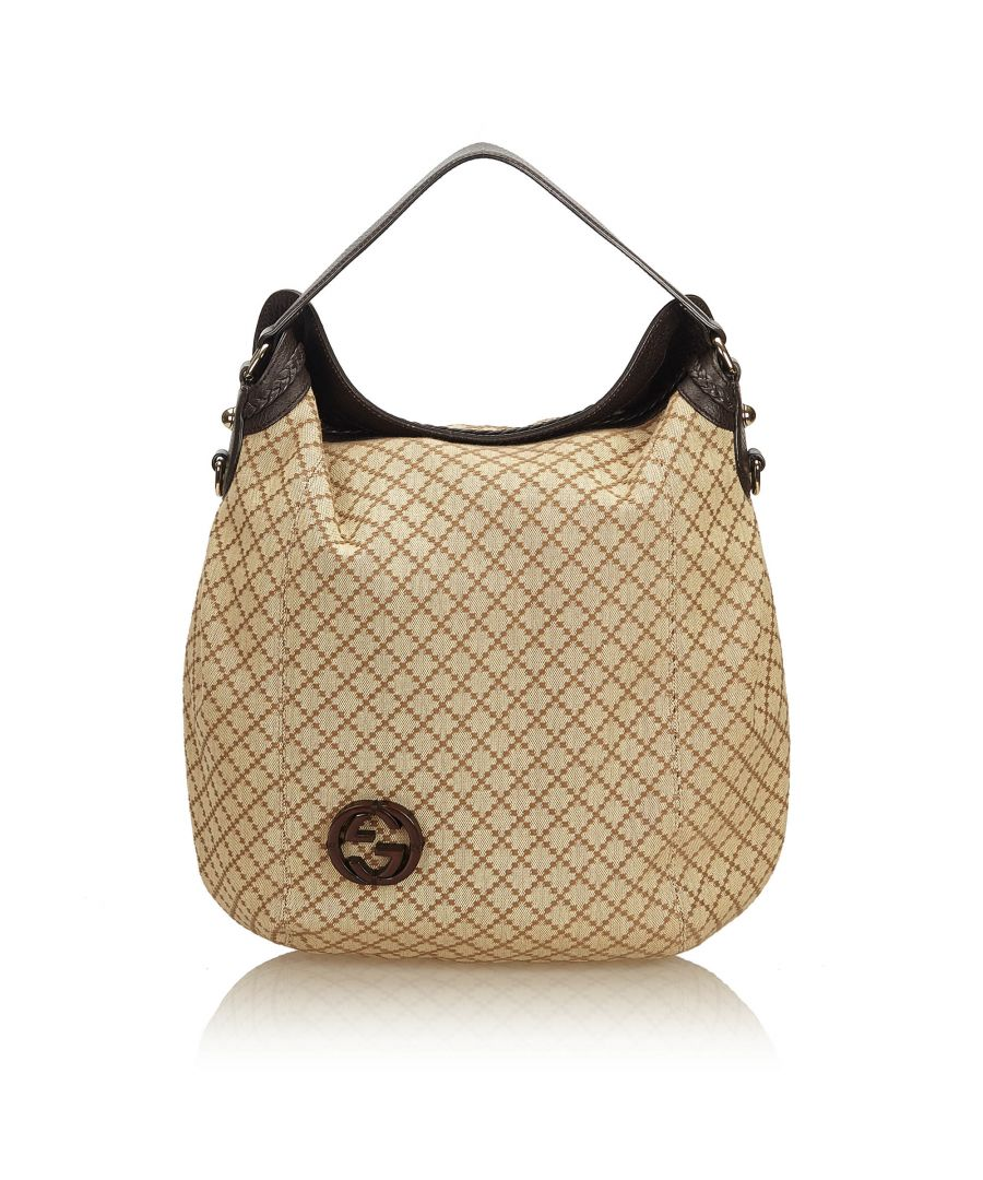 Image for Gucci Diamante Jacquard Hobo Brown