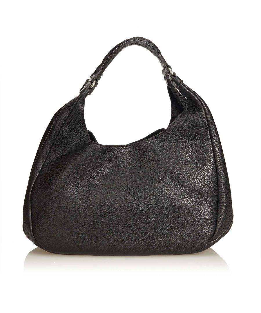Image for Bottega Veneta Leather Hobo Black