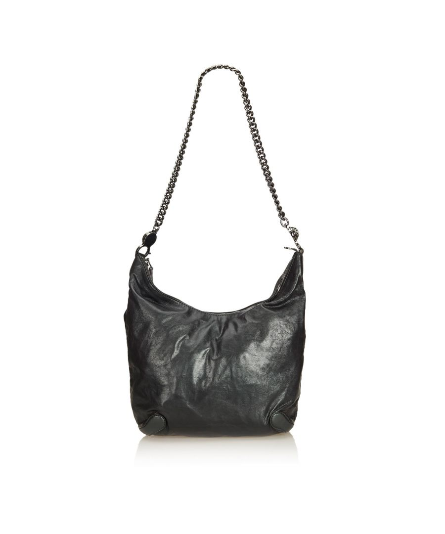 Image for Gucci Leather Galaxy Chain Hobo Black