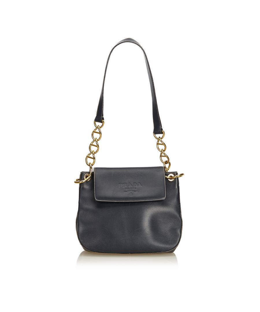 Image for Vintage Prada Calf Leather Chain Shoulder Bag Black