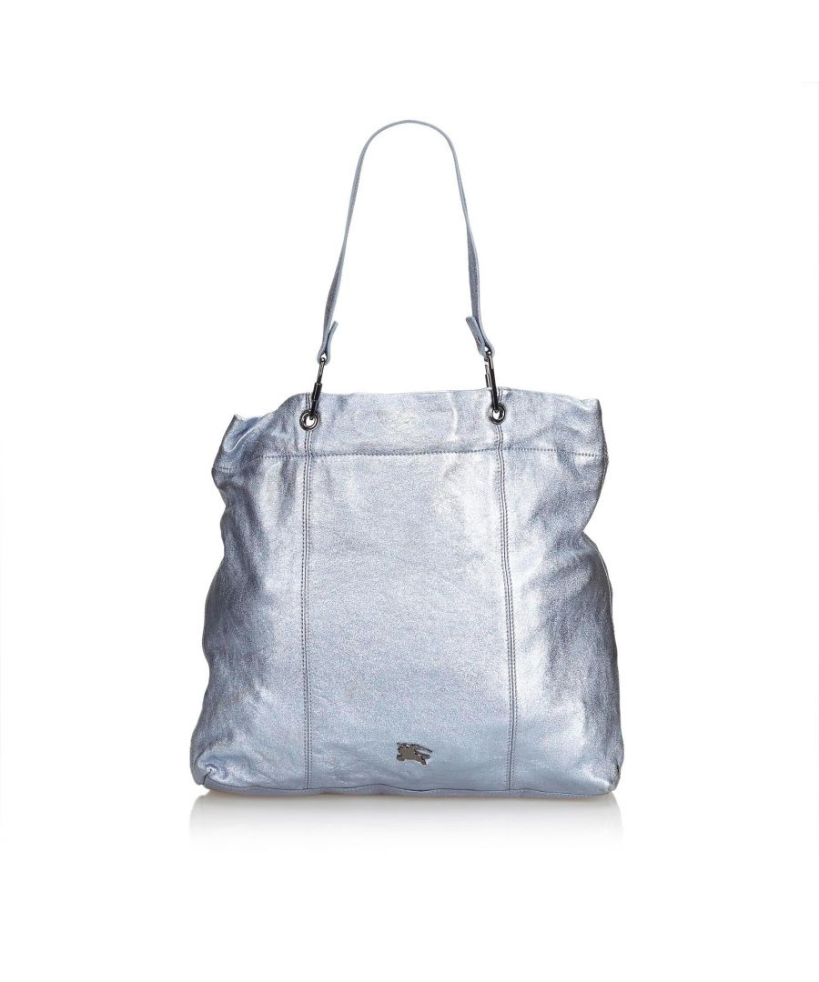 Image for Burberry Metallic Leather Tote Bag Blue