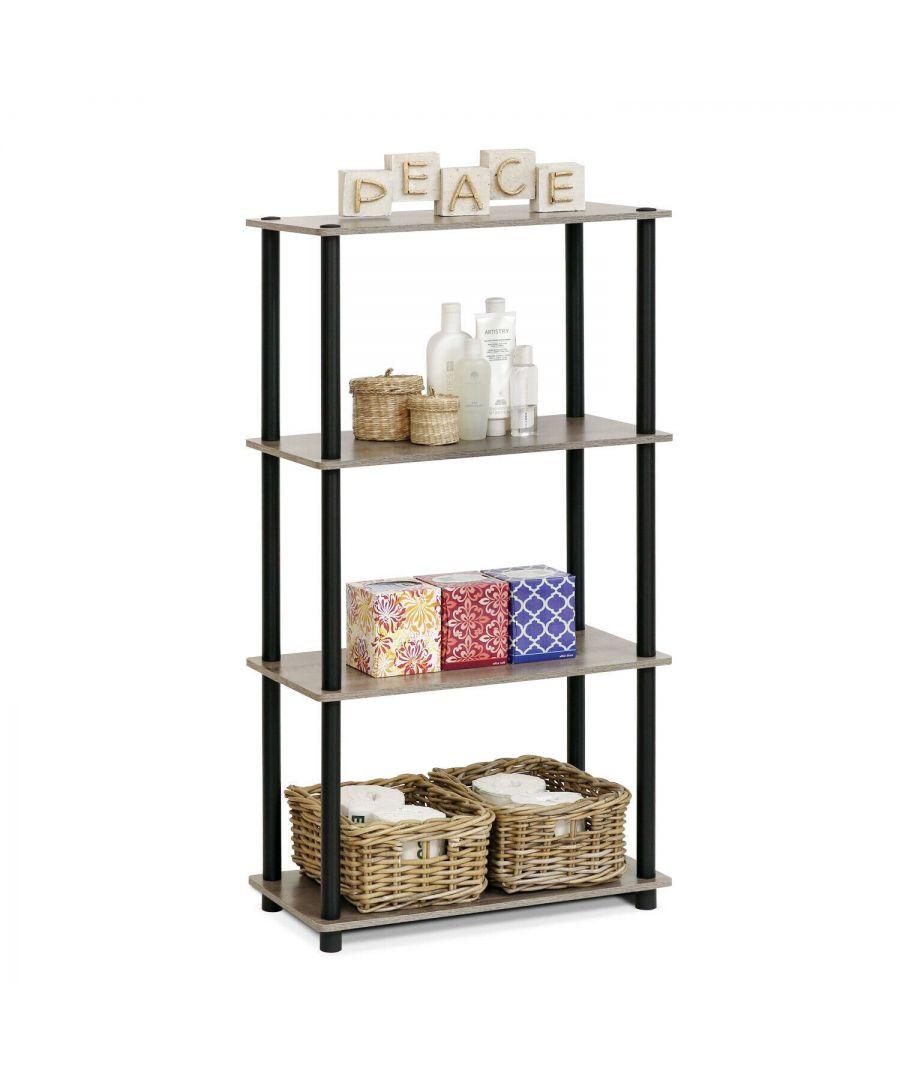 Image for Furinno Turn-N-Tube 4-Tier Multipurpose Shelf Display Rack - French Oak Grey/Black