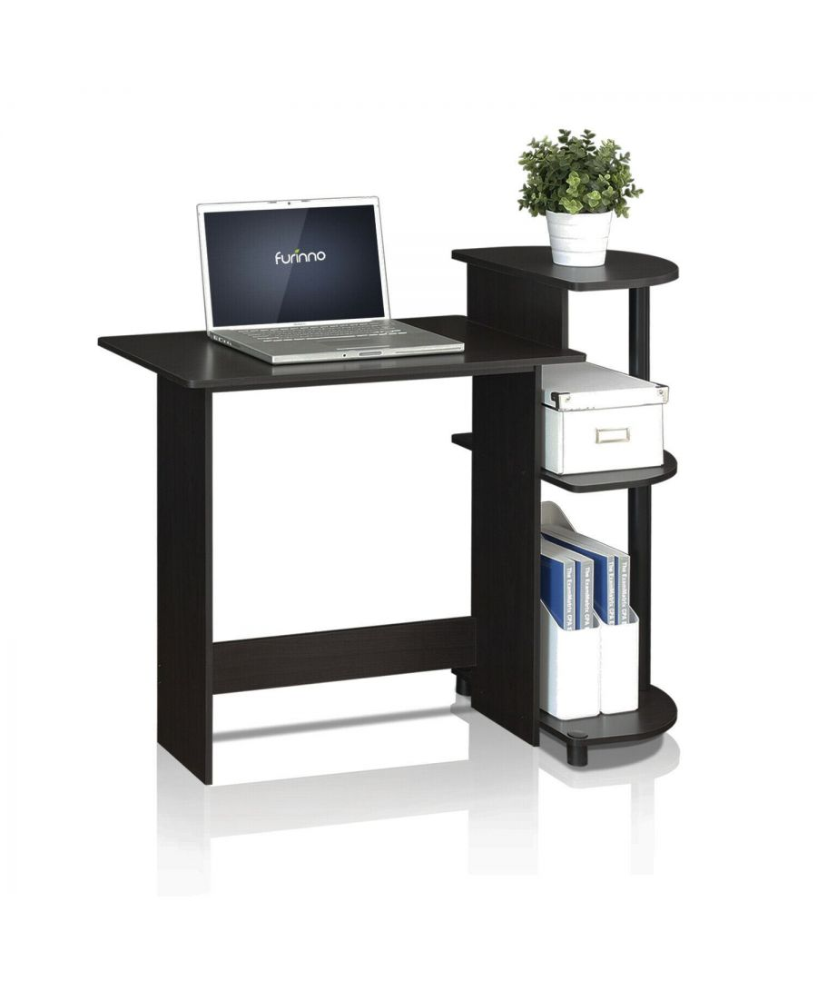 Image for Furinno Compact Computer Desk with Shelves - Espresso/Black